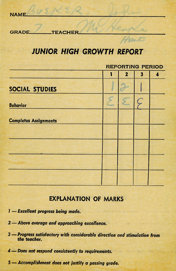 Report cards for teachers